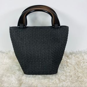 Vintage Woven Handbag Wood Handles Black
